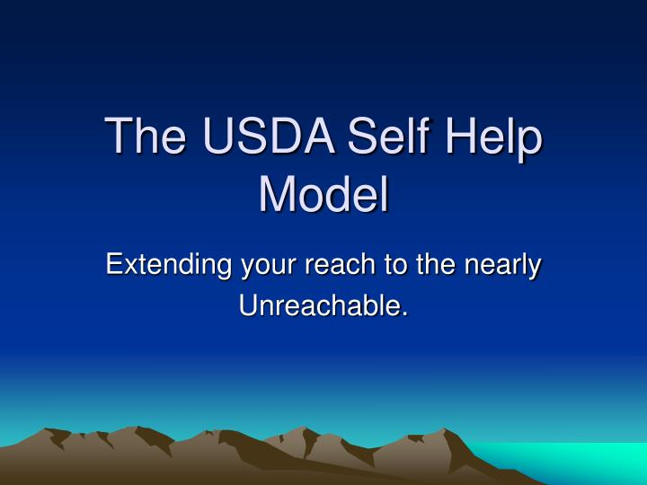 The usda self help model