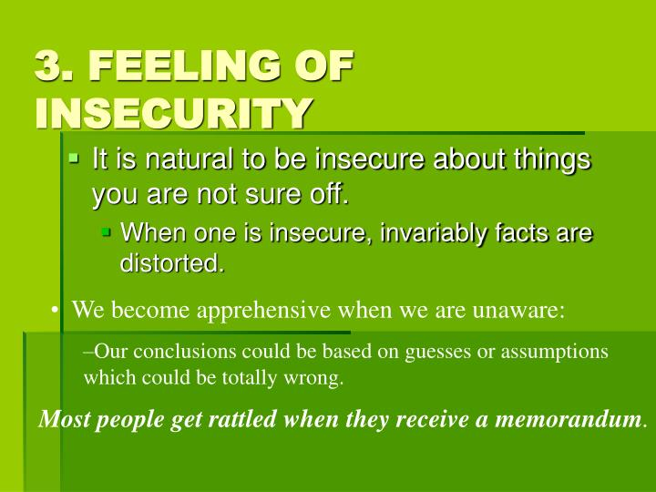 3. FEELING OF INSECURITY