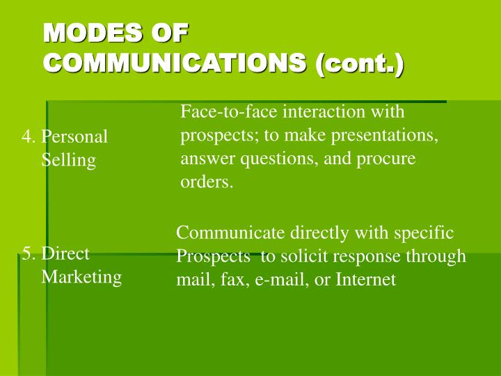 MODES OF COMMUNICATIONS (cont.)