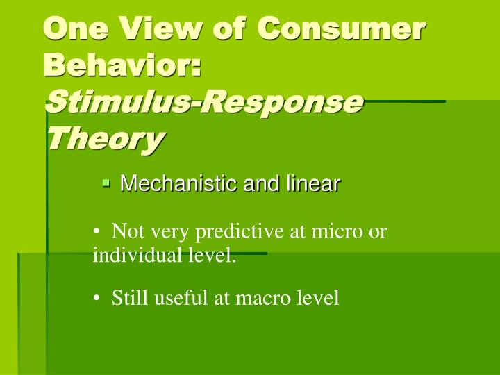 One View of Consumer Behavior: