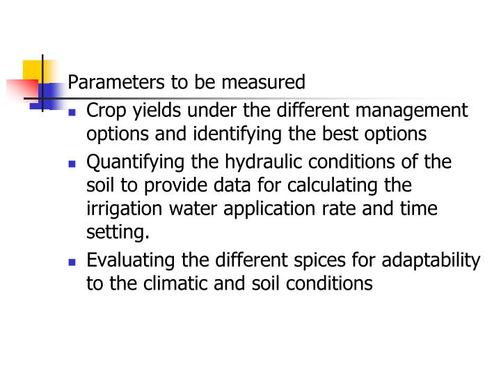 Parameters to be measured