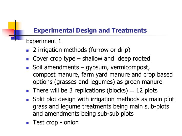 Experimental Design and Treatments