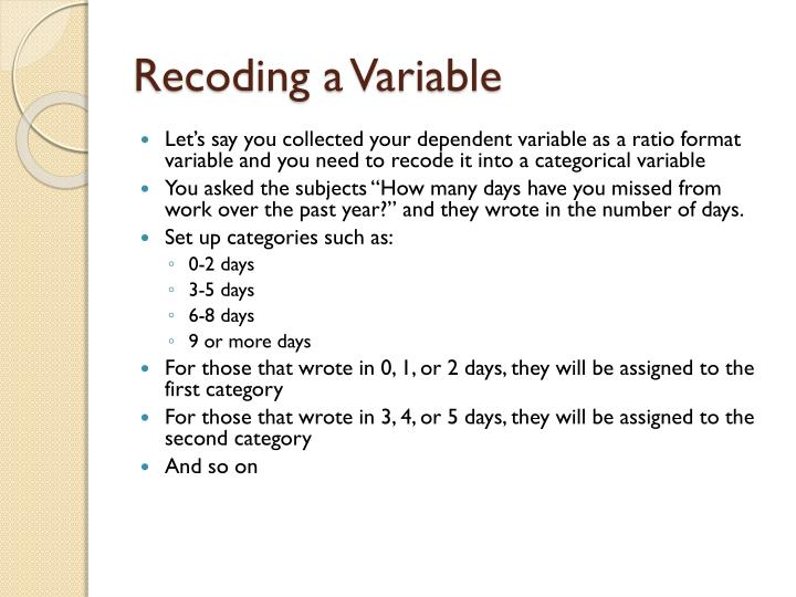 Recoding a Variable