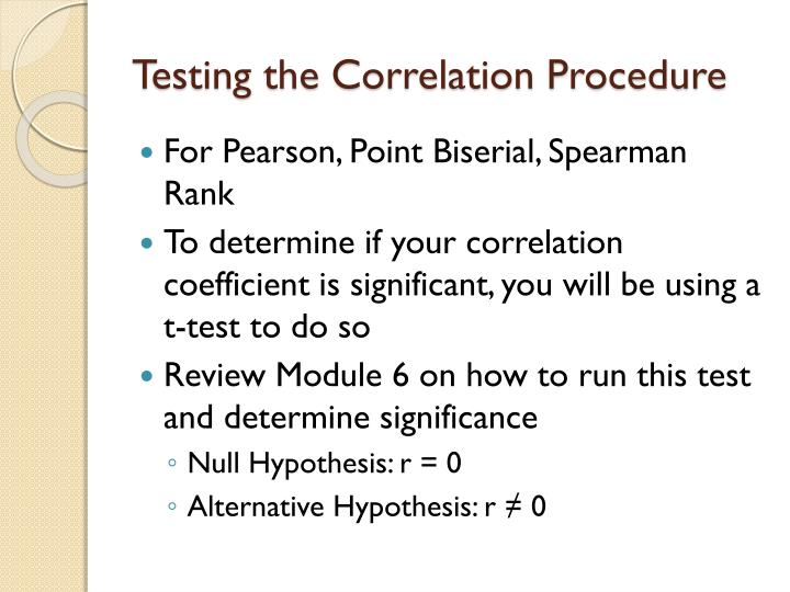 Testing the Correlation Procedure
