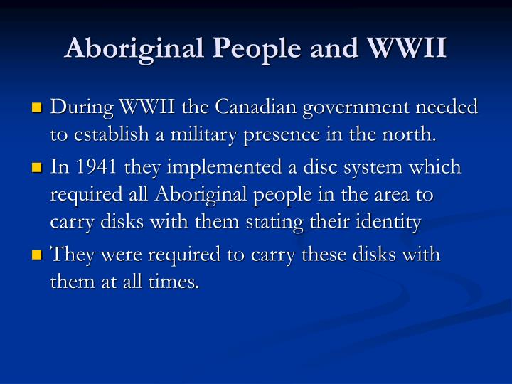 Aboriginal People and WWII