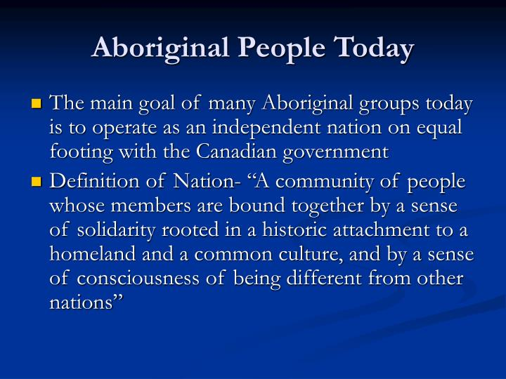 Aboriginal People Today