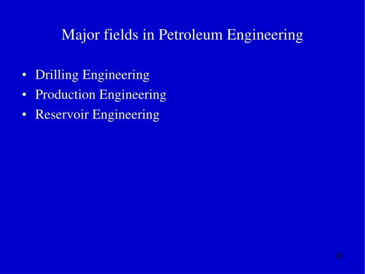 Major fields in Petroleum Engineering