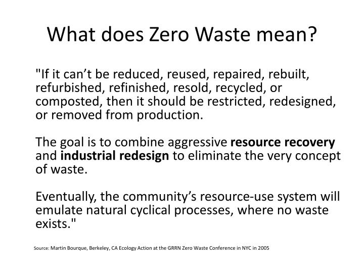 What does Zero Waste mean?