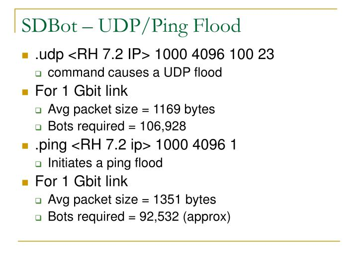 SDBot – UDP/Ping Flood