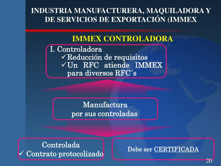 INDUSTRIA MANUFACTURERA, MAQUILADORA Y DE SERVICIOS DE EXPORTACIÓN (