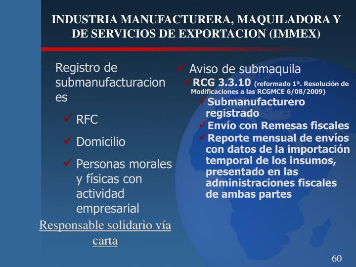 Registro de submanufacturaciones