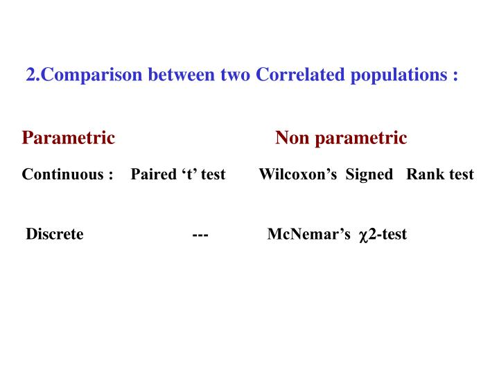 2.Comparison between two Correlated populations :