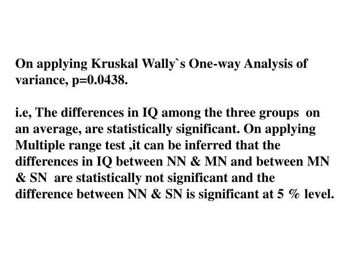 On applying Kruskal Wally`s One-way Analysis of variance, p=0.0438.