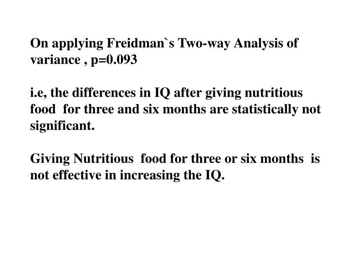 On applying Freidman`s Two-way Analysis of variance , p=0.093