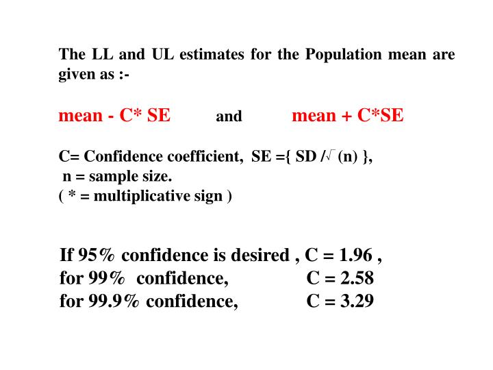 The LL and UL estimates for the Population mean are given as :-