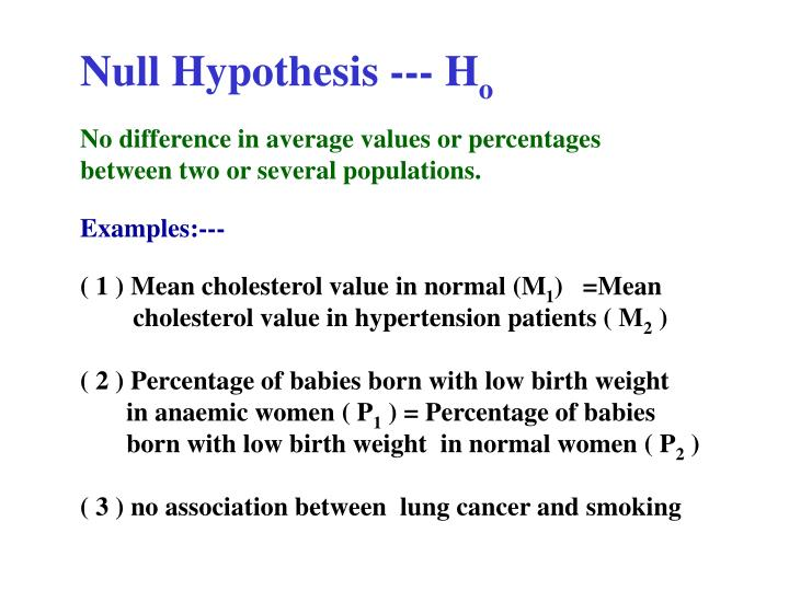 Null Hypothesis --- H