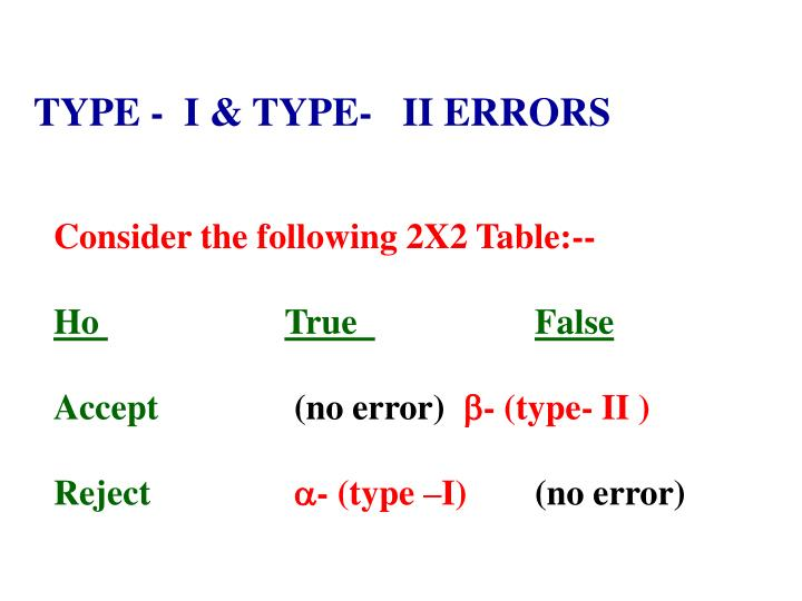 TYPE -  I & TYPE-   II ERRORS