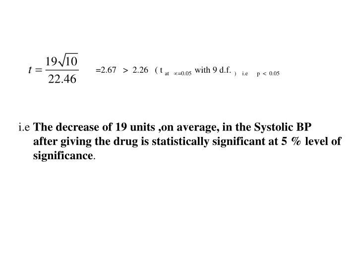 =2.67   >  2.26   ( t