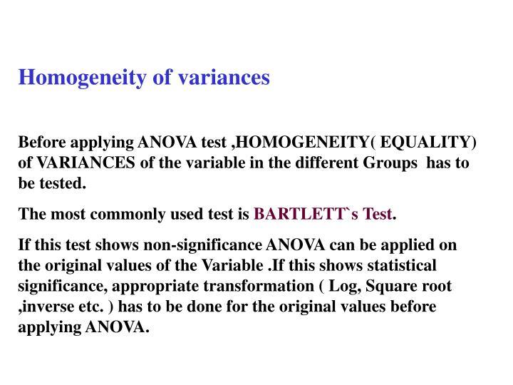 Homogeneity of variances