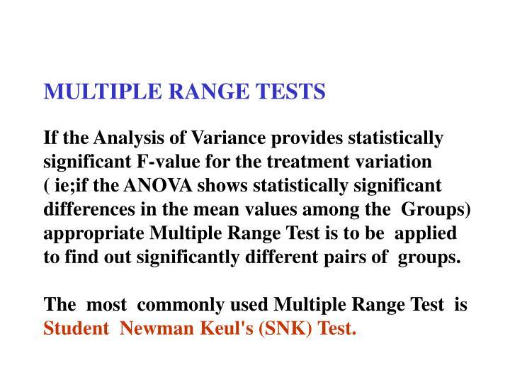 MULTIPLE RANGE TESTS