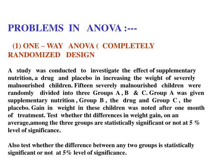 PROBLEMS  IN   ANOVA :---