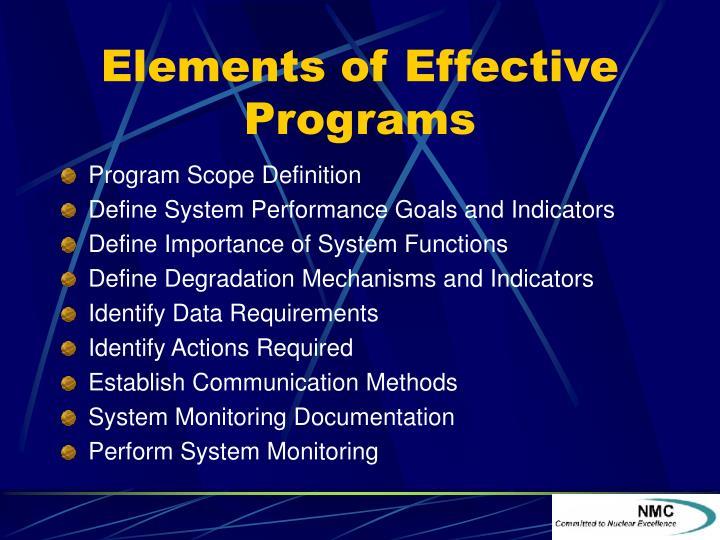 Elements of Effective Programs