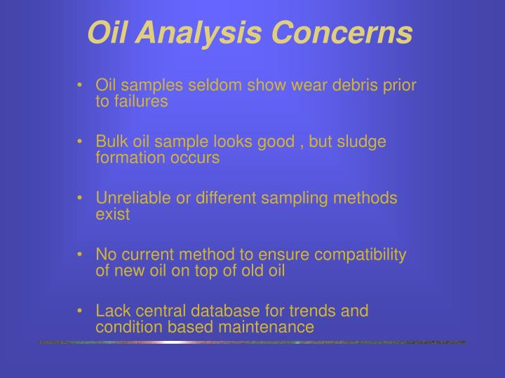 Oil Analysis Concerns