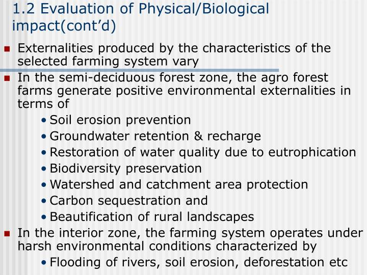 1.2 Evaluation of Physical/Biological impact(cont'd)