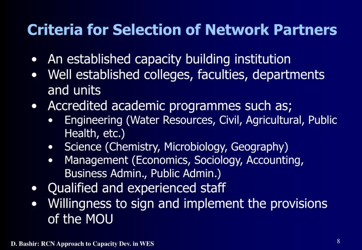 Criteria for Selection of Network Partners