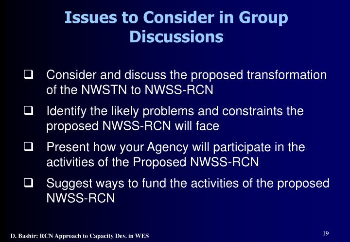 Issues to Consider in Group Discussions