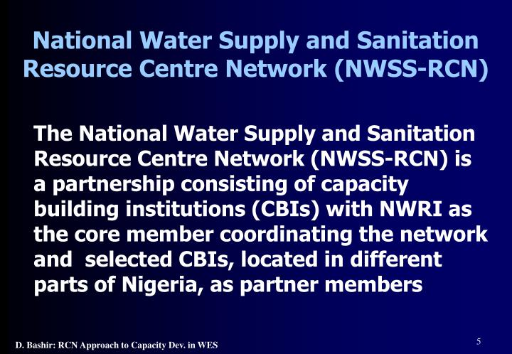 National Water Supply and Sanitation Resource Centre Network (NWSS-RCN)