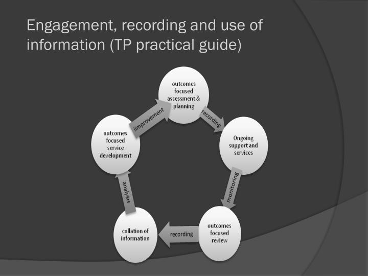 Engagement, recording and use of information (TP practical guide)
