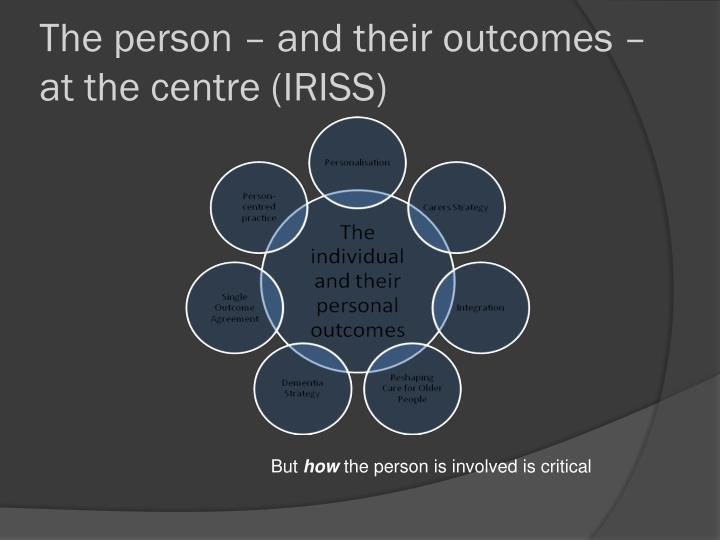 The person – and their outcomes – at the centre (IRISS)
