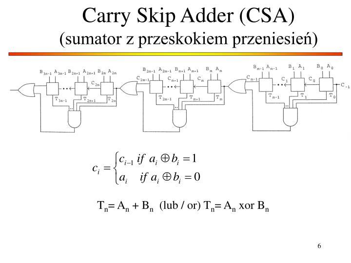 Carry Skip Adder (CSA)