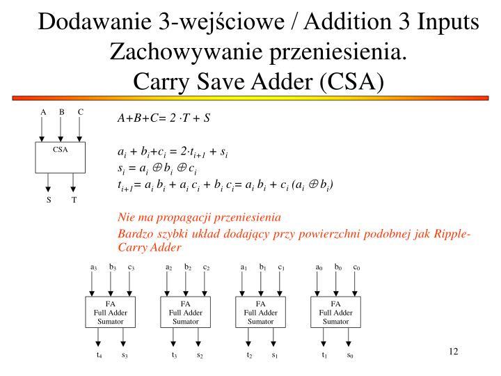 Dodawanie 3-wejściowe / Addition 3 Inputs