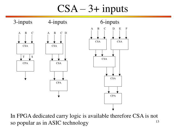 CSA – 3+ inputs