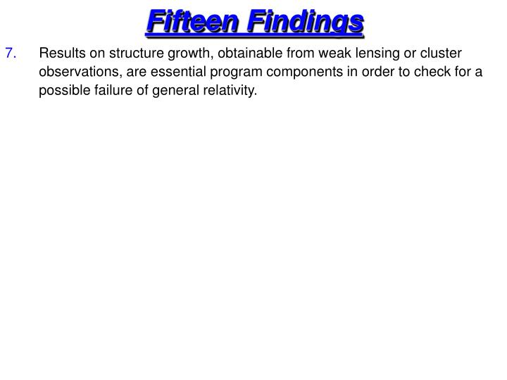 Fifteen Findings