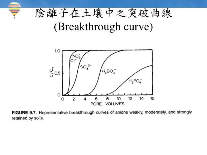 陰離子在土壤中之突破曲線