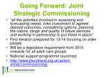 going forward joint strategic commissioning