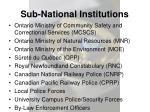 sub national institutions