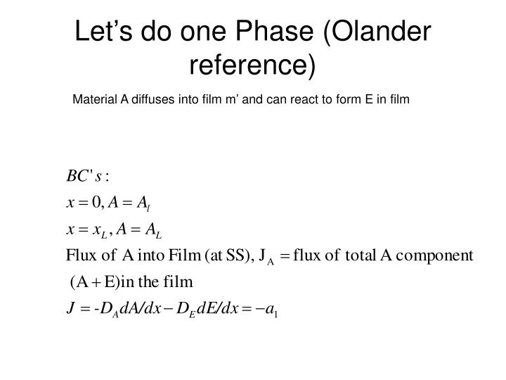 Let's do one Phase (Olander reference)