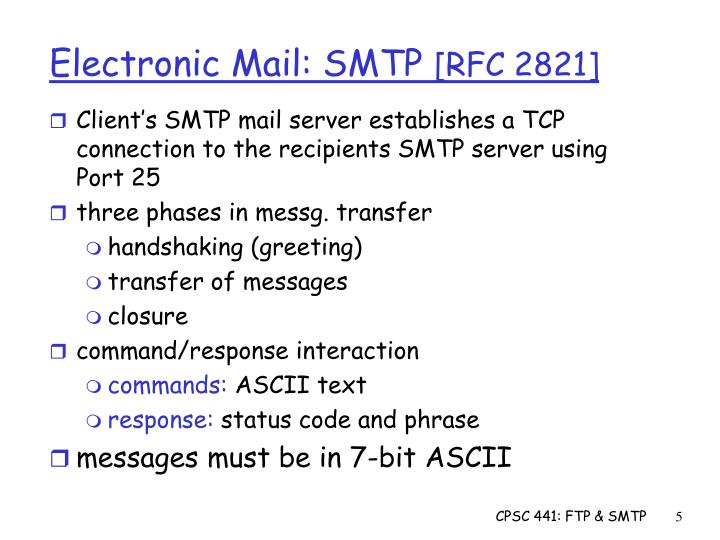 Client's SMTP mail server establishes a TCP connection to the recipients SMTP server using Port 25
