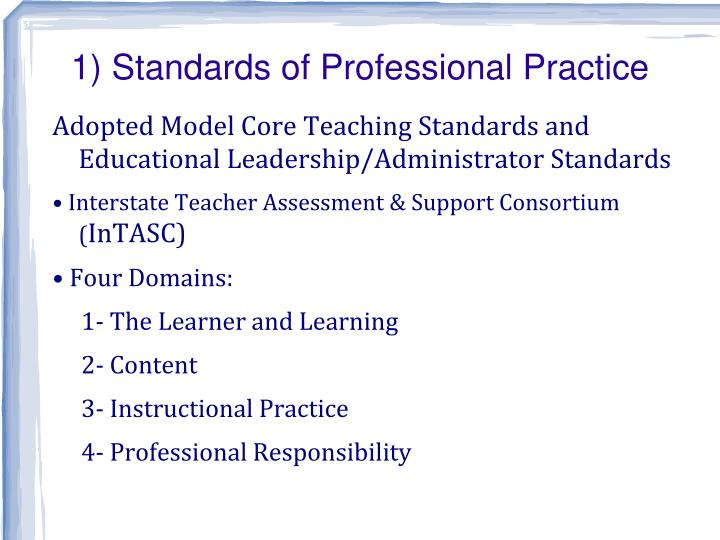 1) Standards of Professional Practice