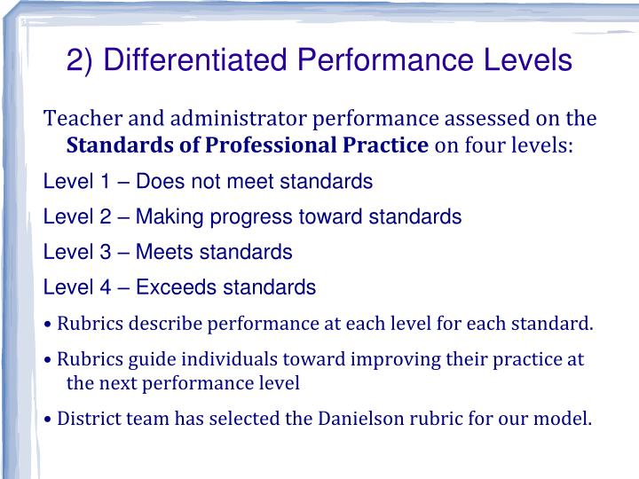 2) Differentiated Performance Levels