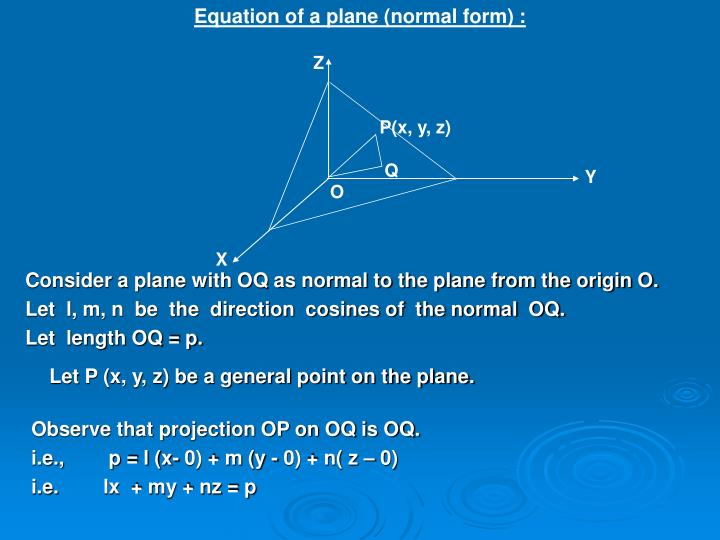 Equation of a plane (normal form) :