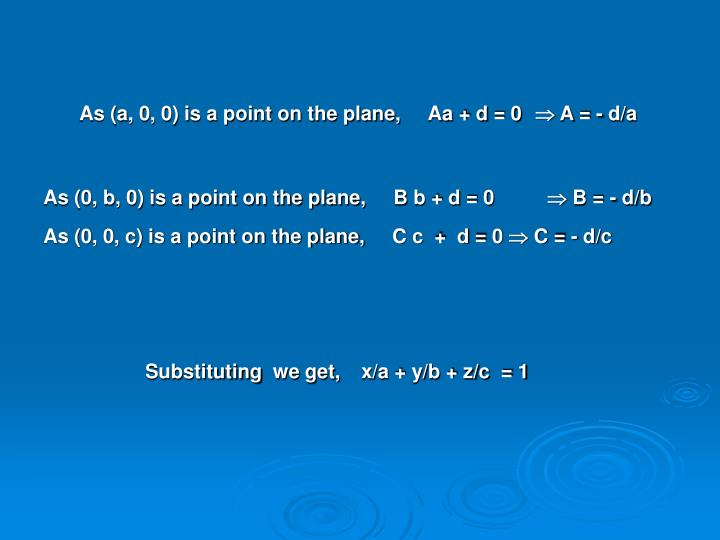 As (a, 0, 0) is a point on the plane,