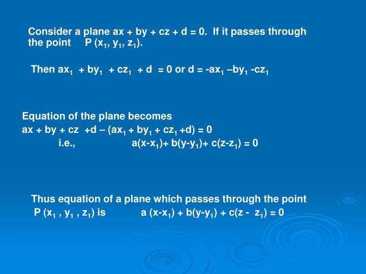 Consider a plane ax + by + cz + d = 0.  If it passes through the point     P (x