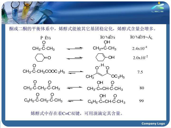 酮或二酮的平衡体系中,烯醇式能被其它基团稳定化,烯醇式含量会增多。