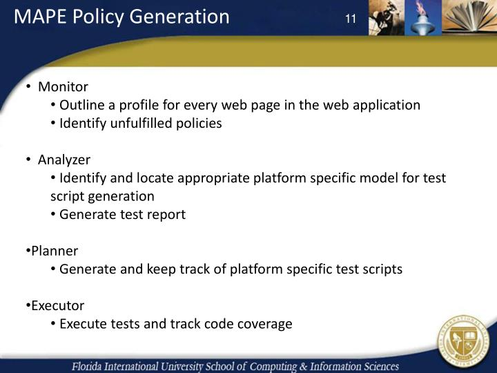 MAPE Policy Generation