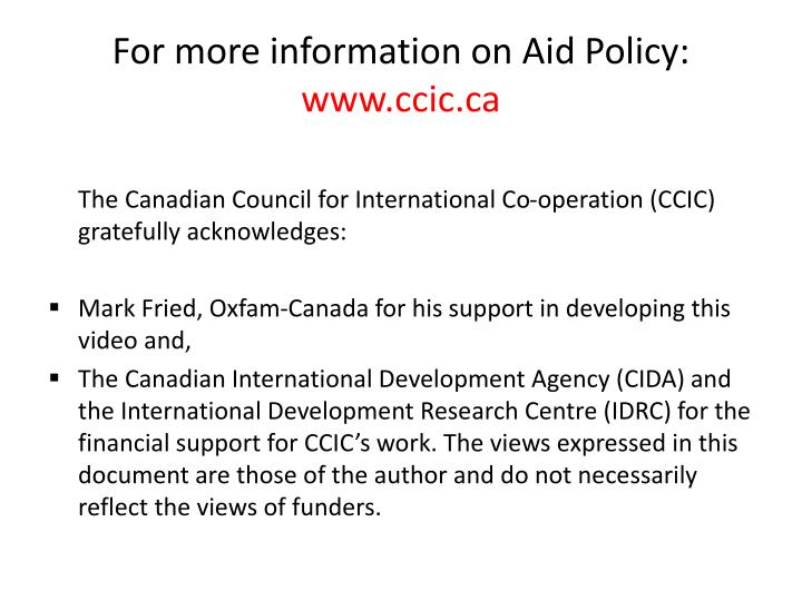 For more information on Aid Policy:
